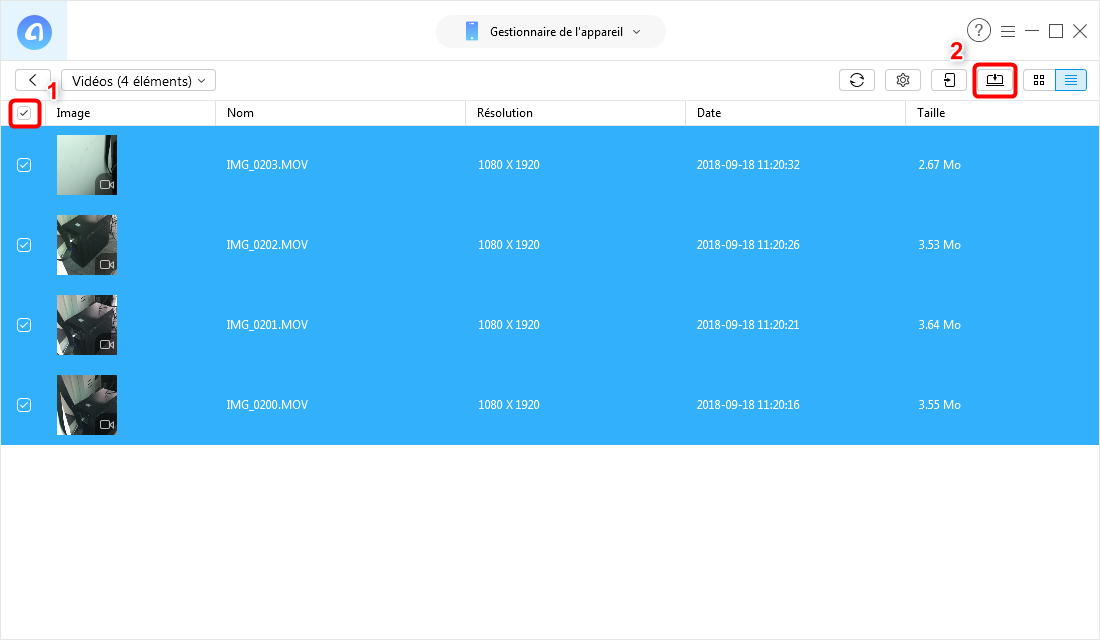 Envoyer les vidéos iPhone X vers PC – étape 3
