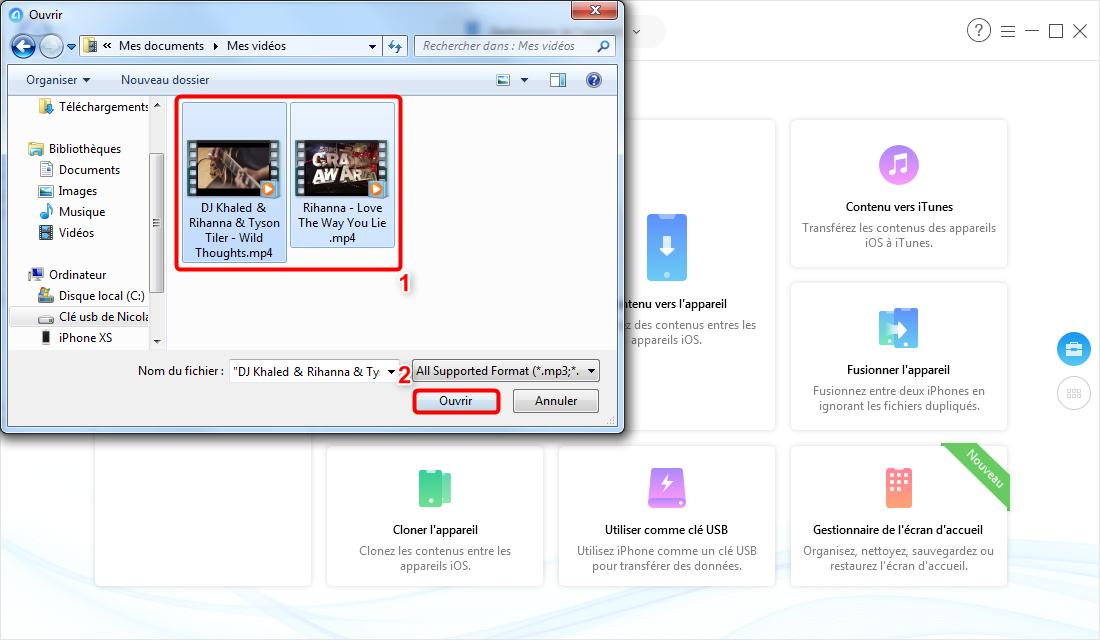 Comment transférer les vidéos d'un Mac vers l'iPhone 6s – étape 2