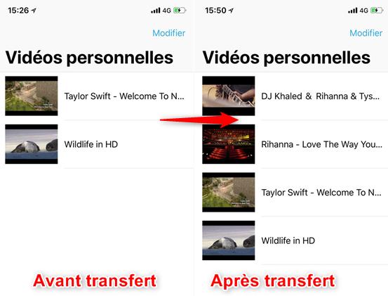 Transfert de vidéos PC vers iPad