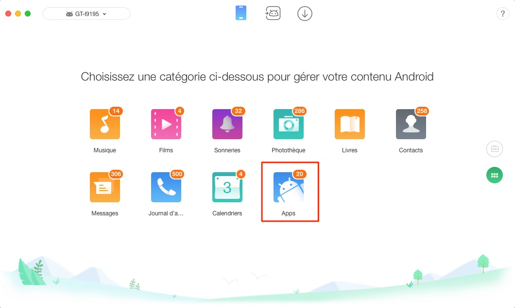 Transférer les applications Android vers Android - étape 2