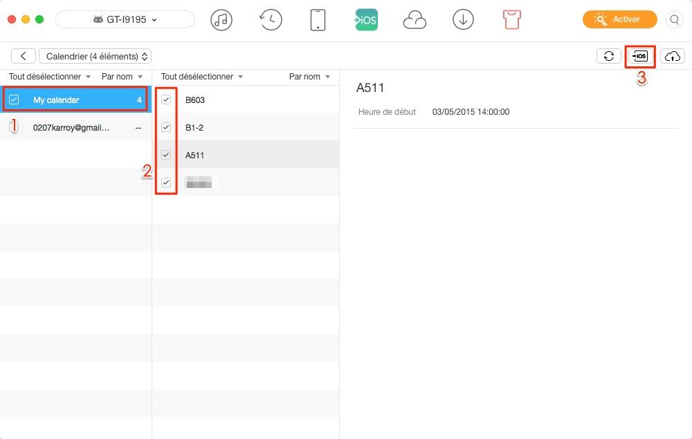 Comment transférer les calendriers Android vers iPhone directement – étape 3