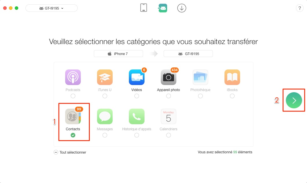 Transfert de contacts iPhone vers Android - étape 2