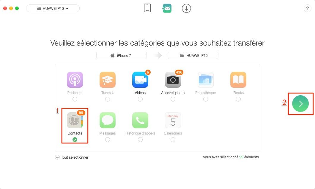 Transfert de contacts iPhone vers Huawei - étape 2