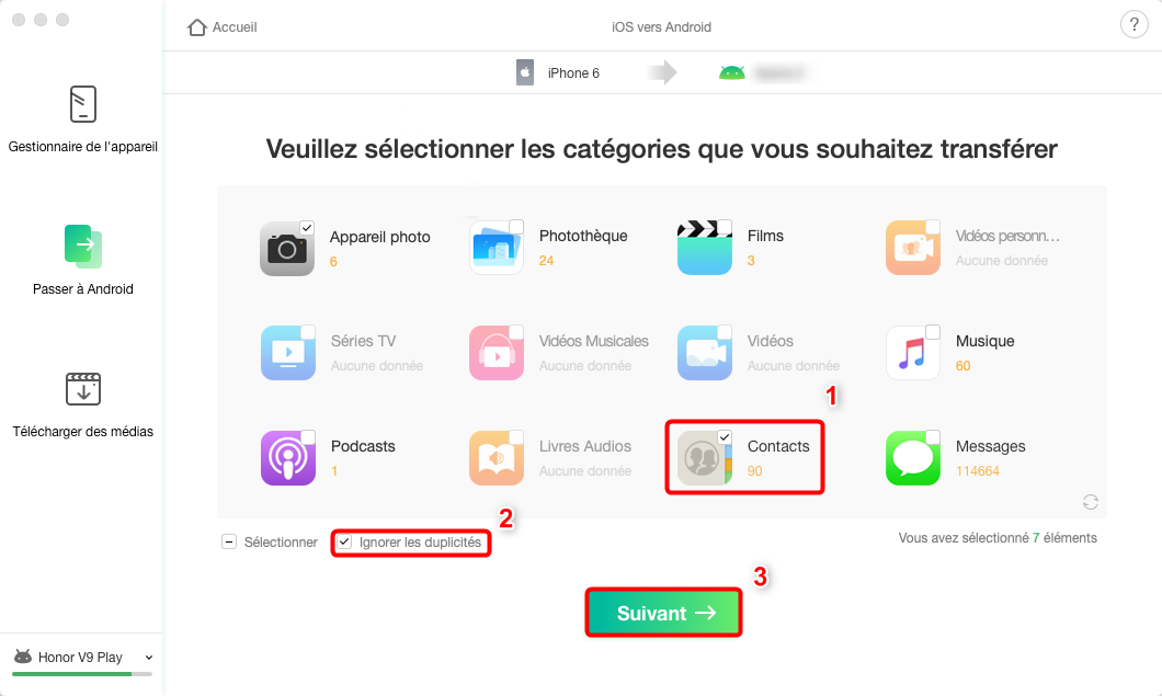 Transfert de contacts iPhone vers Huawei - étape 2