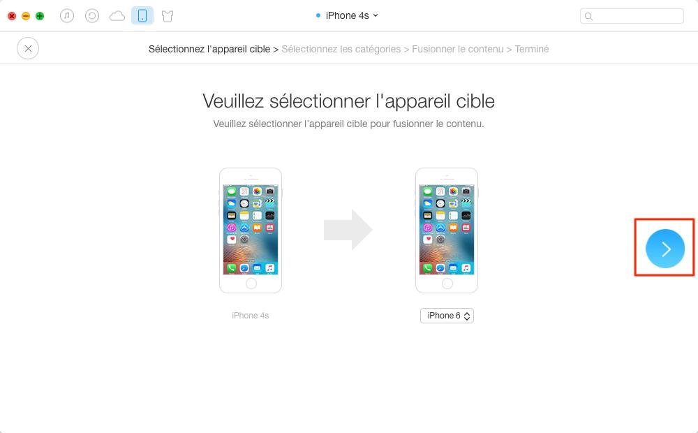 Transférer des contacts/applications iPhone vers iPhone – étape 2