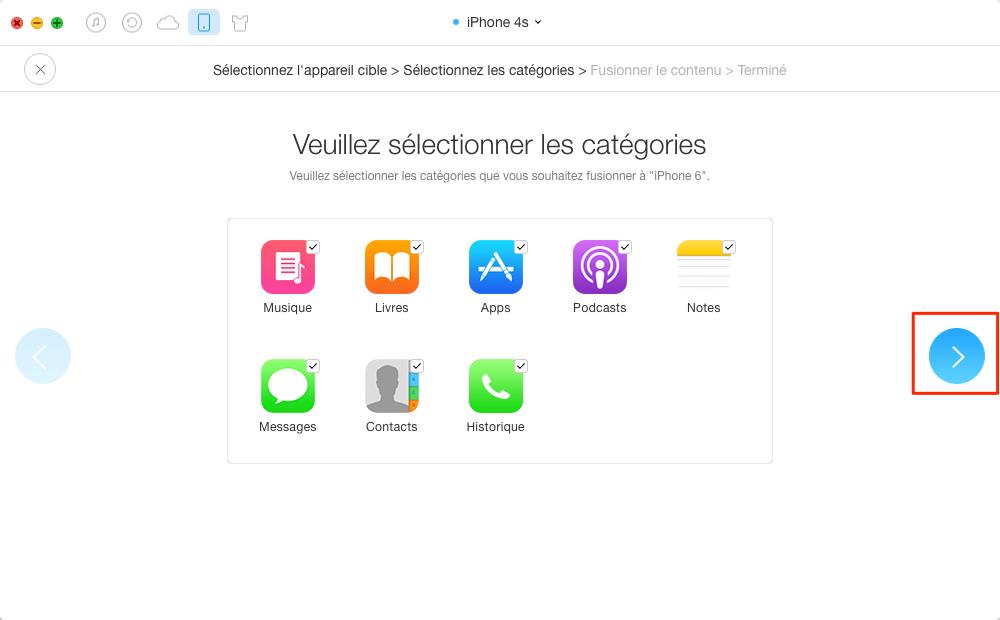 Synchroniser des iPhone vers un autre sans iTunes – étape 3
