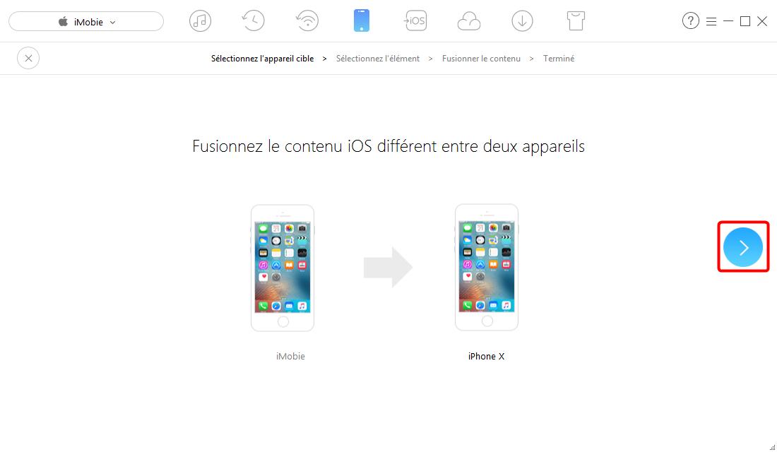 Transférer des contacts/applications iPhone vers iPhone – étape 2