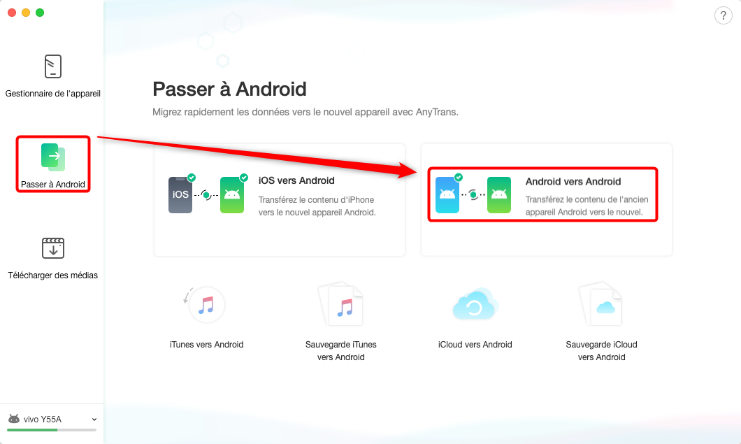 Transférer les données Android vers Android - étape 1