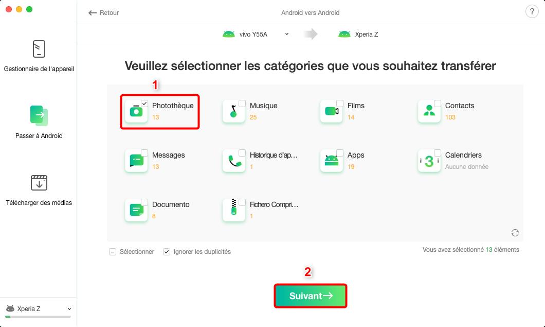 Envoyer les données Android vers Android en 1-clic - étape 2