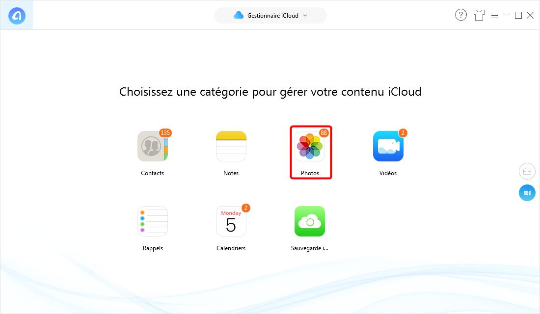 Transférer les contacts, les messages, les photos d'un compte iCloud vers un autre - étape 2
