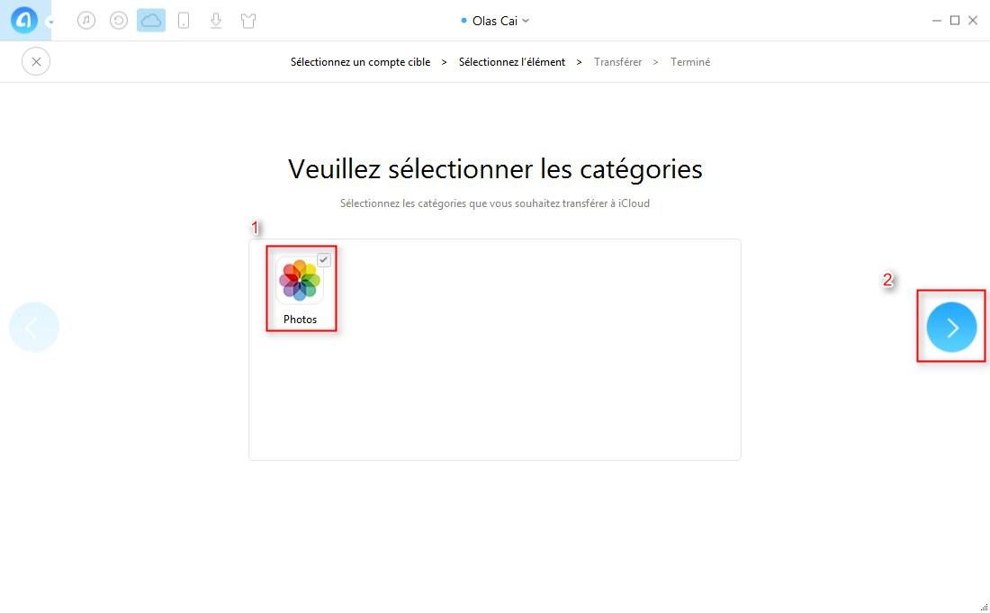 Comment transférer des données entre iCloud – étape 3