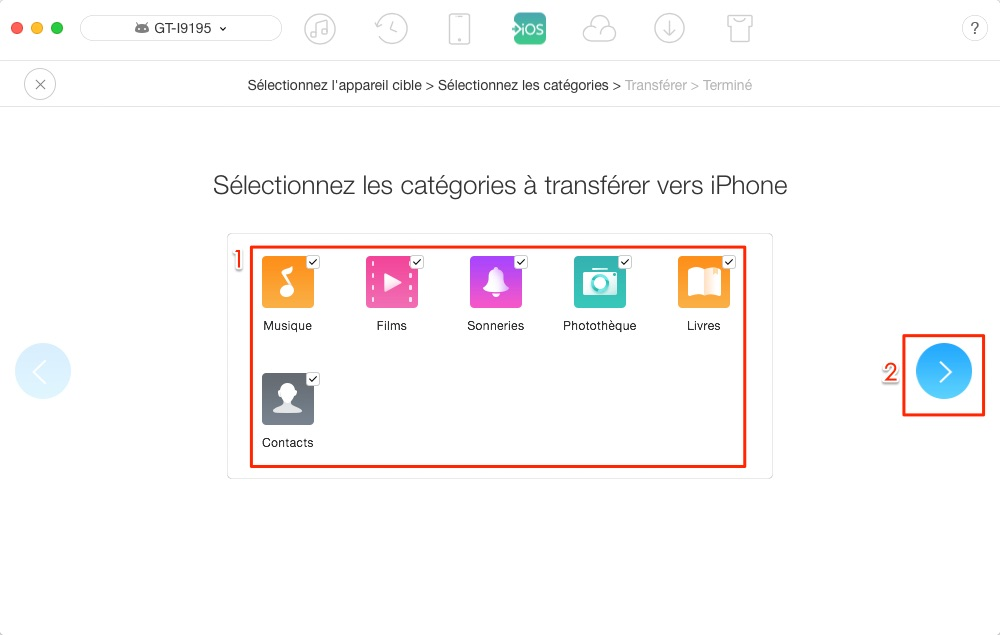 Transfert de données Samsung vers iPhone - étape 2