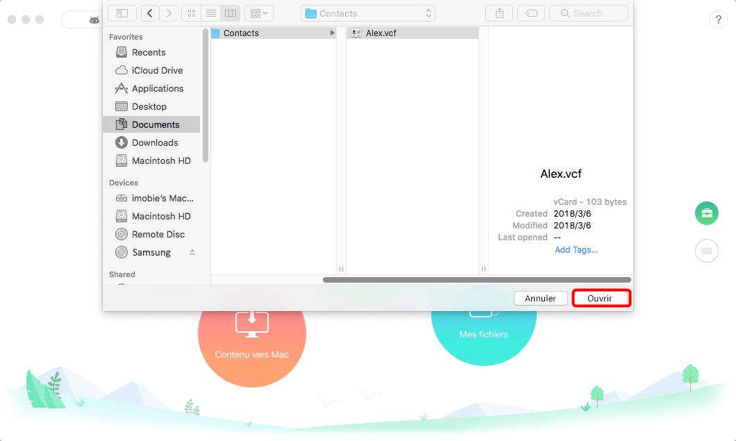 Comment transférer les fichiers de Mac vers tablette Samsung - étape 2