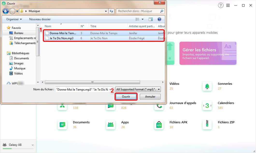 Sélectionnez les fichiers que vous voulez transférer vers la tablette - 2