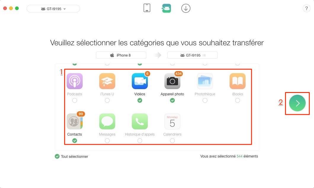 Transfert de données iPhone vers Samsung - étape 2