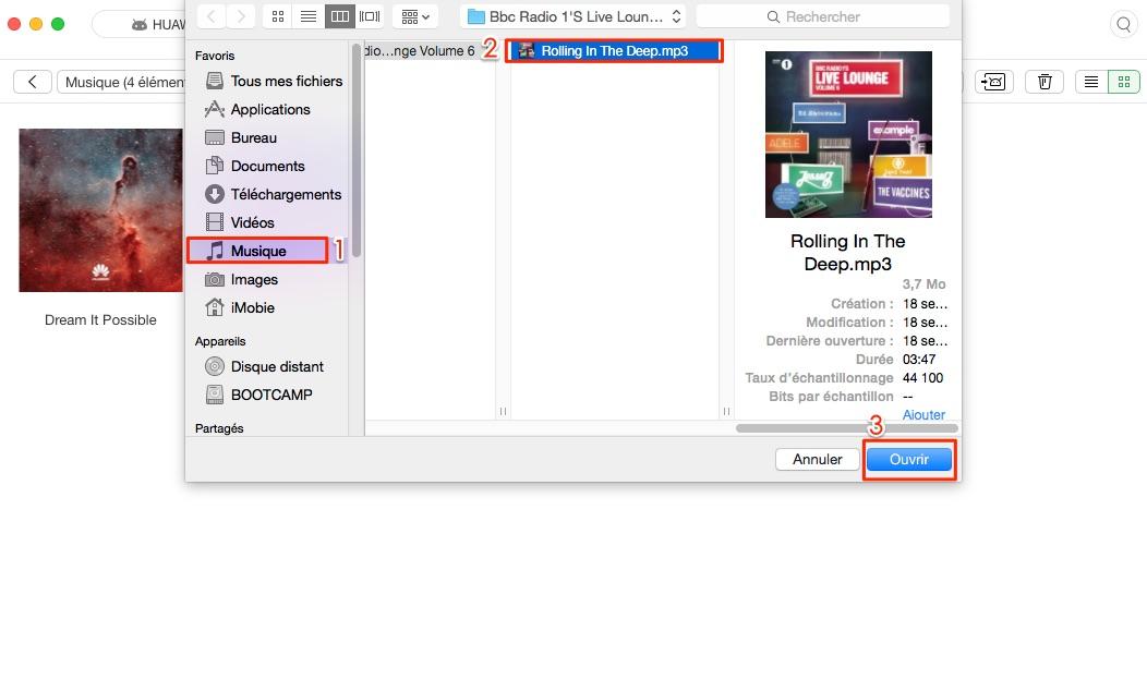 Mettre musique sur Android depuis Mac - étape 3