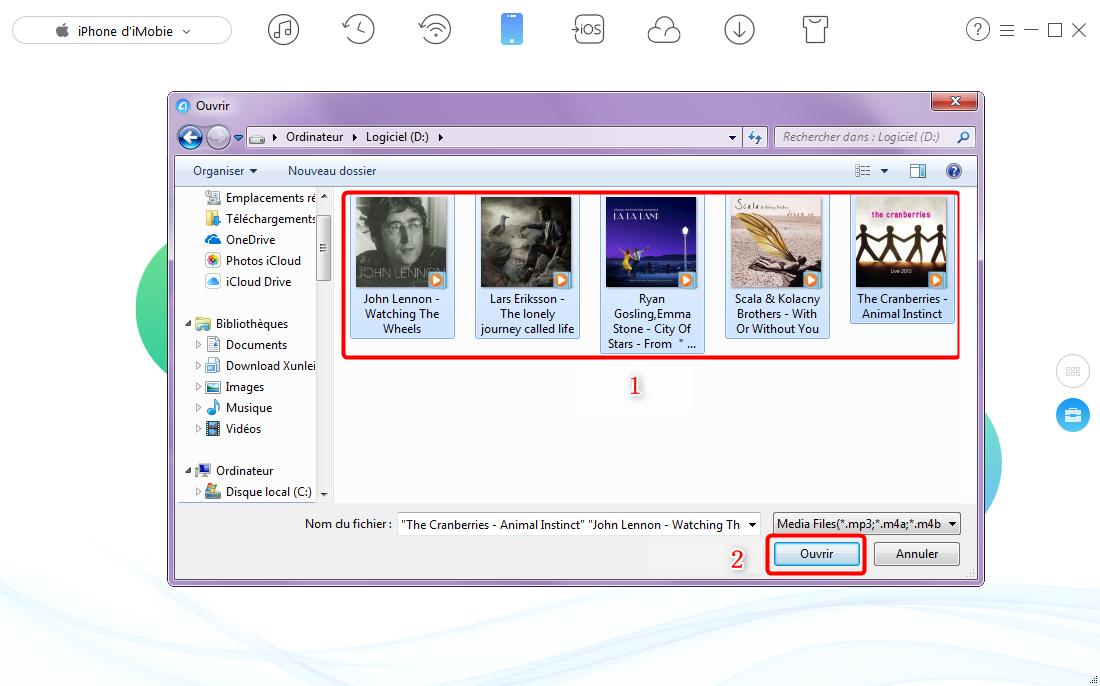 Transfert de musiques de PC vers iPhone - étape 2