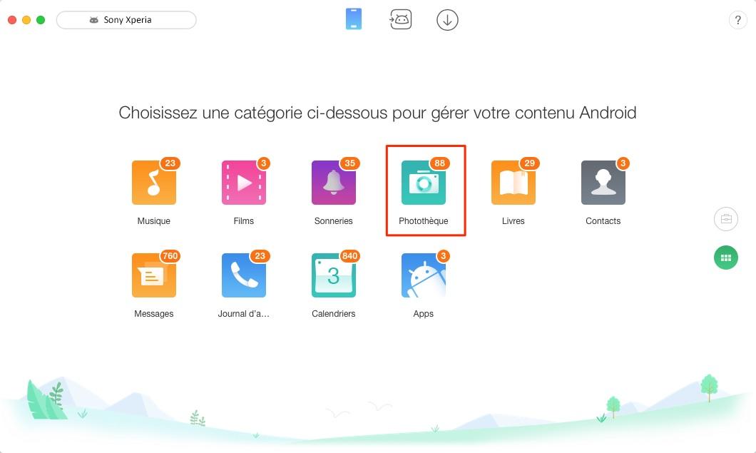 Transférer les photos de Sony Xperia vers Mac facilement – étape 2