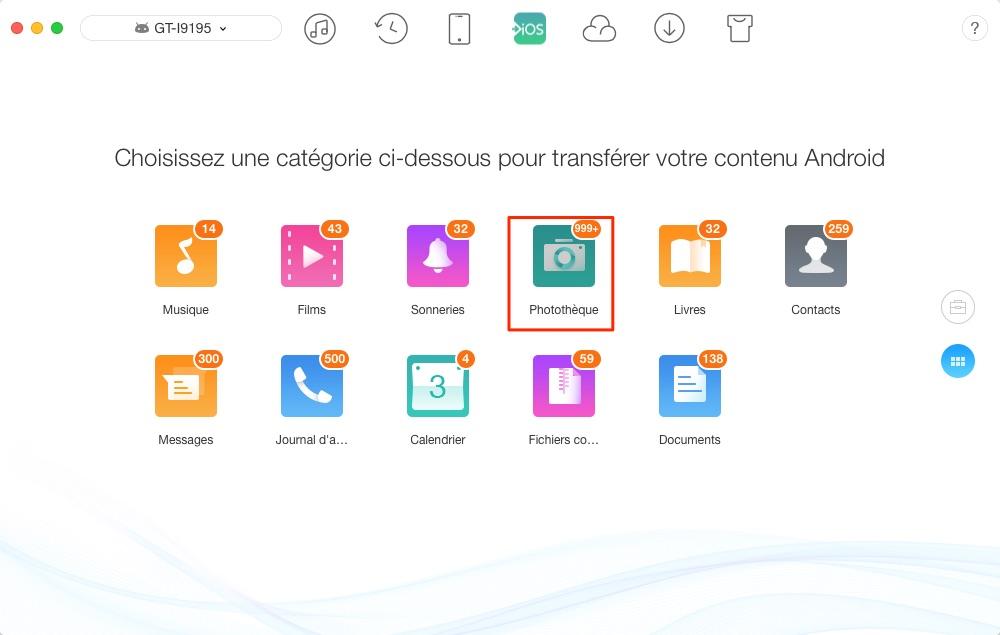 Transfert de photos Android vers iPhone - étape 2