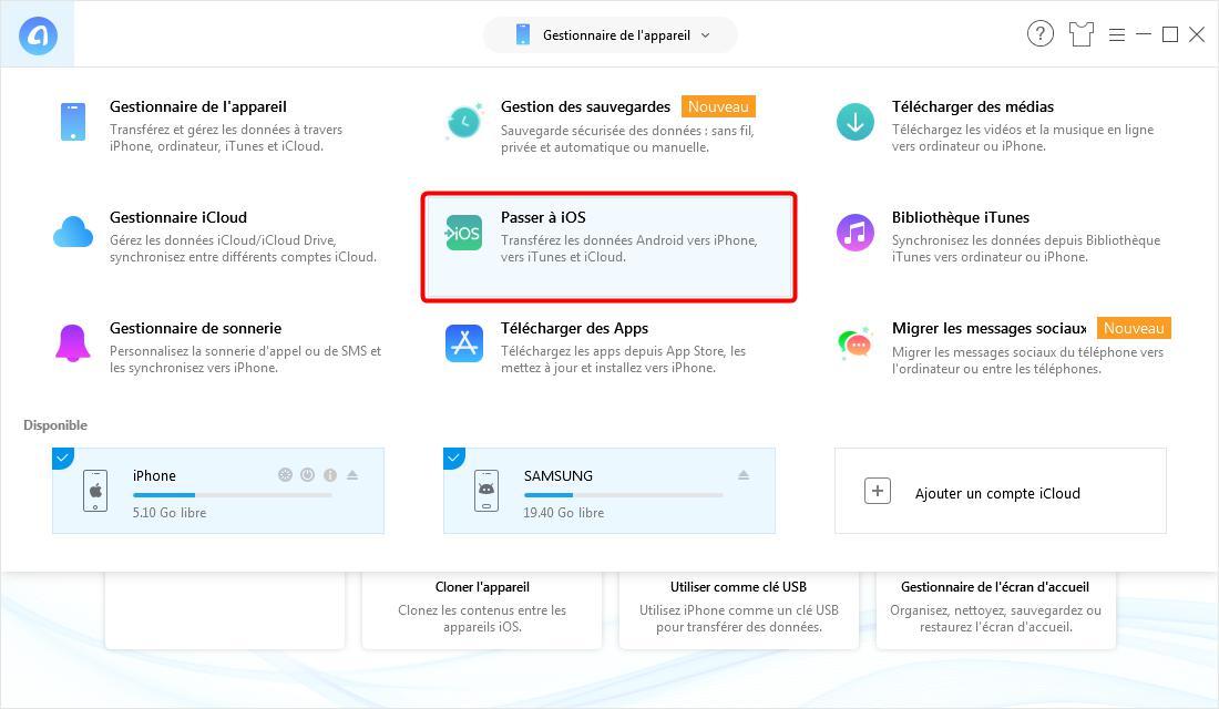 Comment transférer les photos Android vers iPhone – étape 1