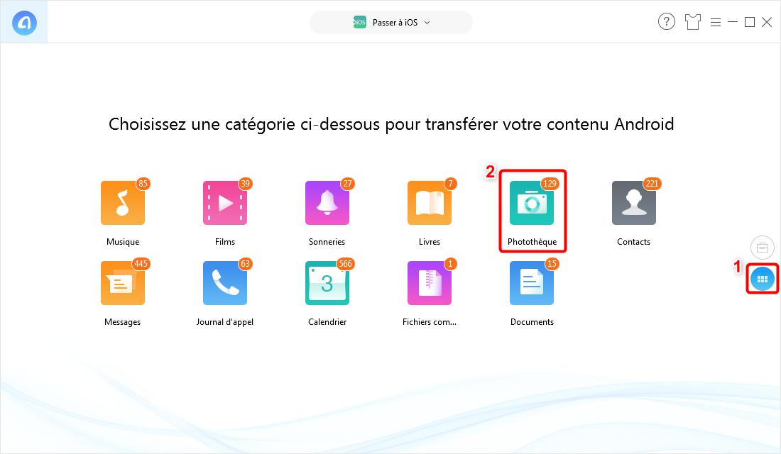 Transfert de photos Android vers iPhone – étape 2