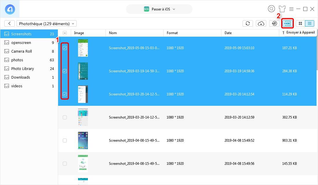 Moyen de transférer les photos Samsung vers iPhone – étape 3
