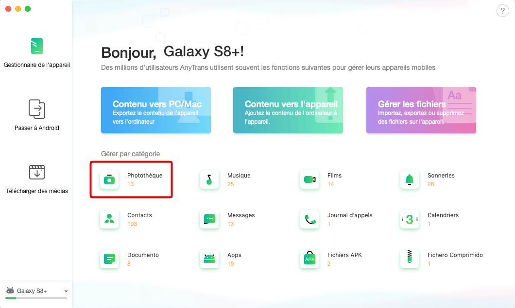 Transfert de données Samsung S10+ vers Mac - étape 2