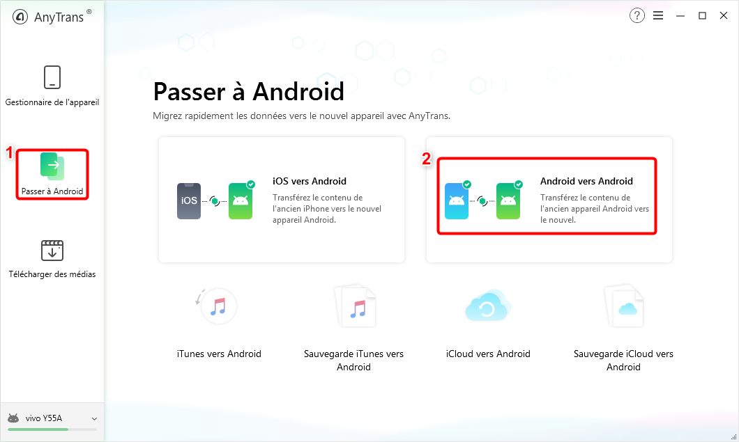 """Cliquez sur le bouton """"Android vers Android"""" - 2"""