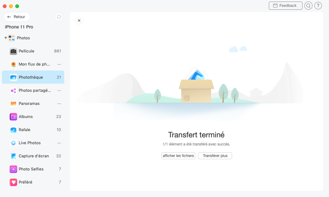L'interface du transfert terminé