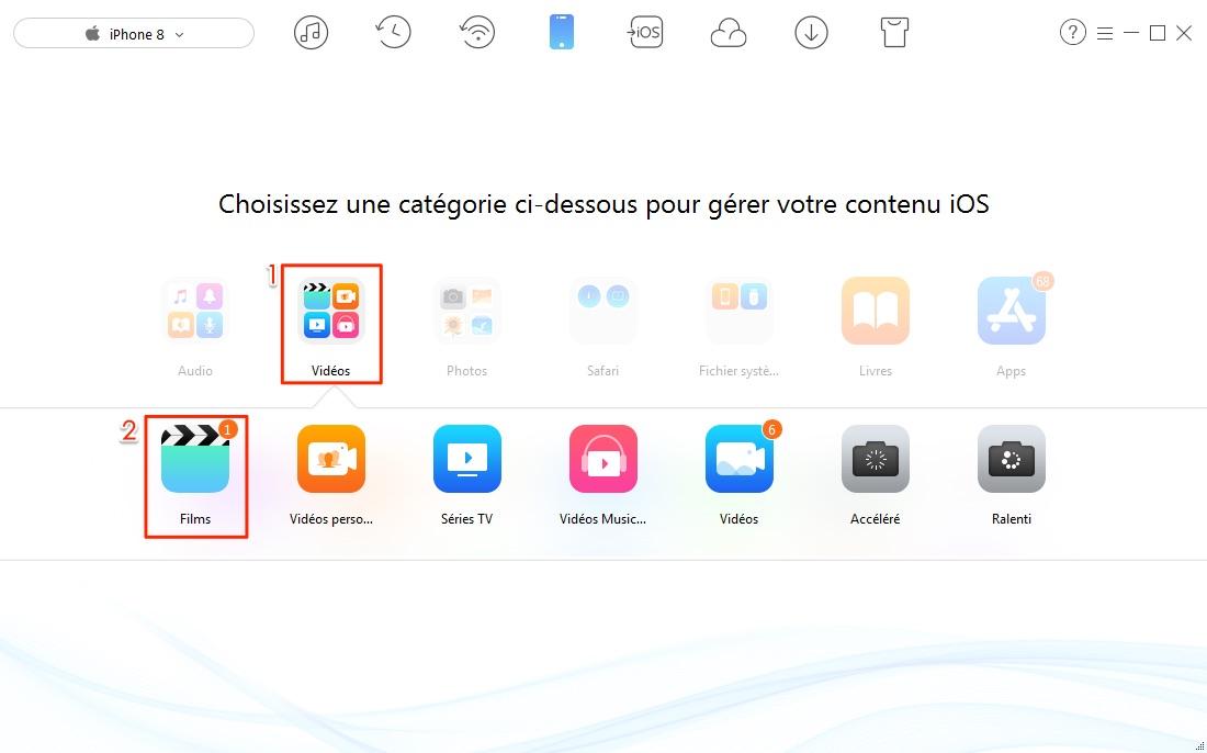 Moyen facile de transférer les vidéos iPhone 8 vers PC - étape 2