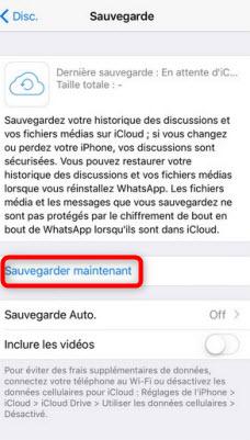 Sauvegarder les messages WhatsApp sur iCloud