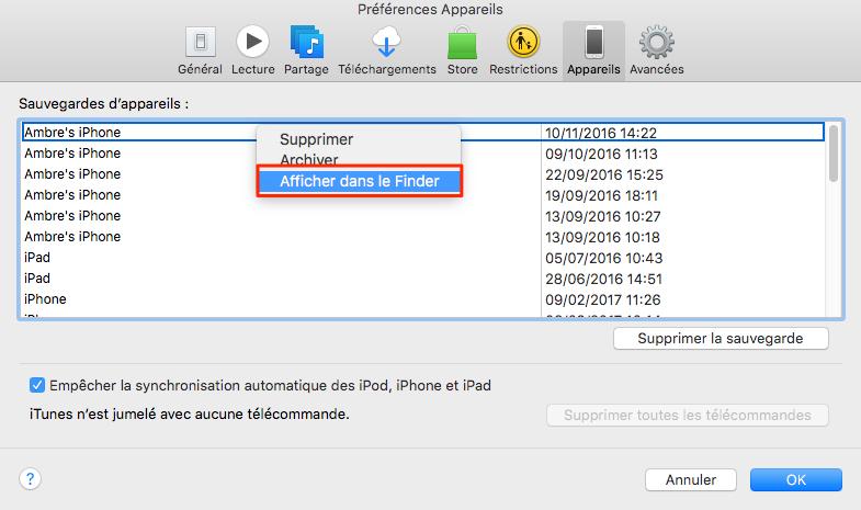 Comment trouver une sauvegarde iPhone précise sur Mac