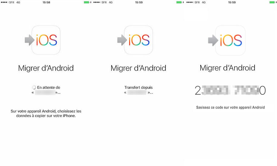 Tutoriel sur l'app Migrer vers iOS - étape 1