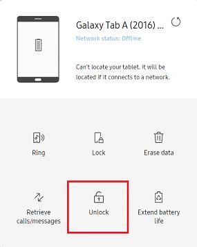 Schéma de déverrouillage oublié tablette Samsung