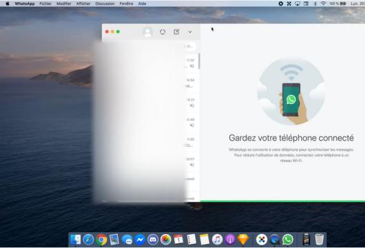 Page d'accueil de WhatsApp sur Mac