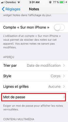 Verrouiller une note sur iPhone
