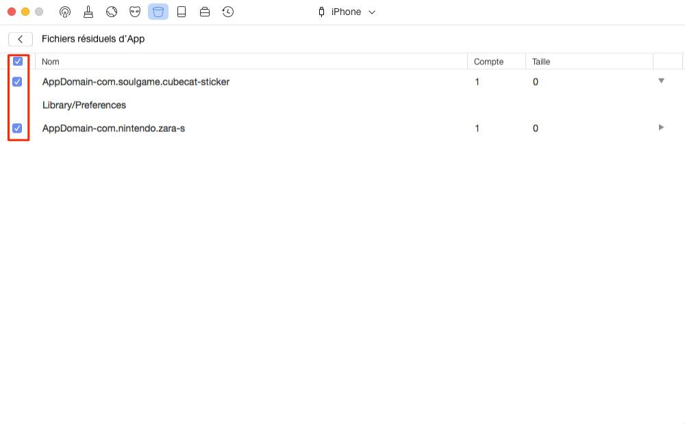 Supprimer les fichiers inutiles des applications – étape 3
