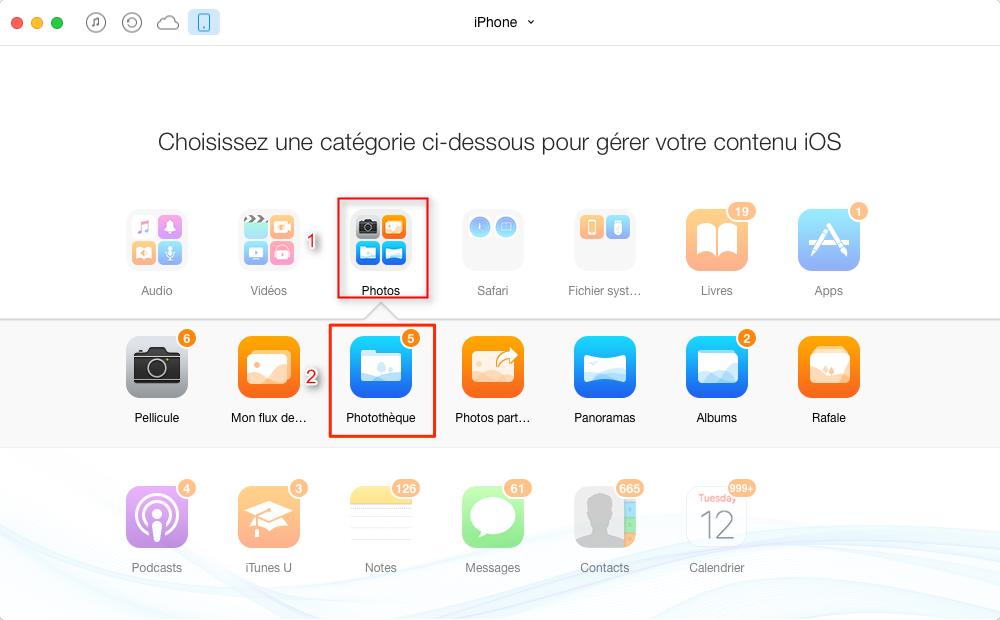 Moyen facile de vider les photos iPhone sur PC - étape 2