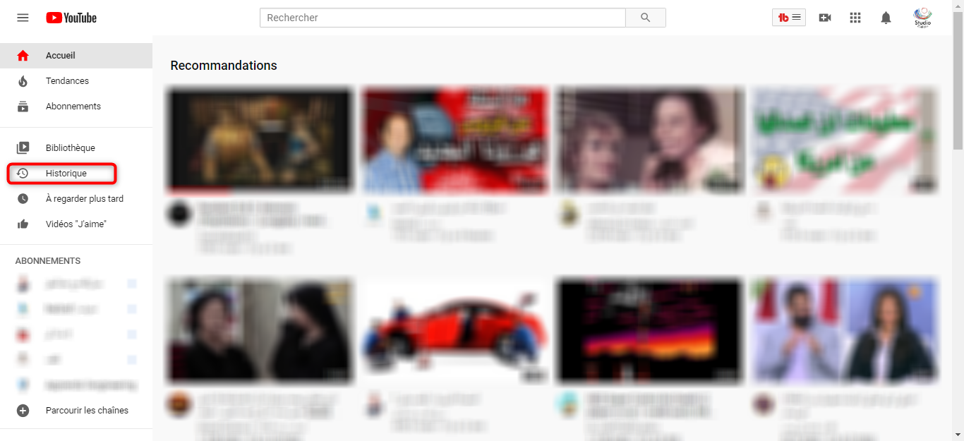 Voir l'historique de Youtube - étape 1