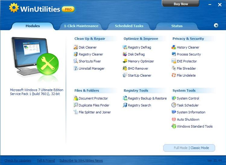 Interface de WinUtilities Pro