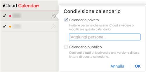 condivisione del calendario tramite icloud