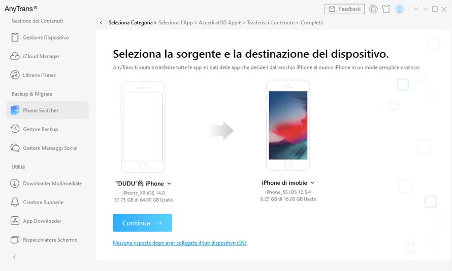 conferma nuovo iphone come dispositivo di destinazione
