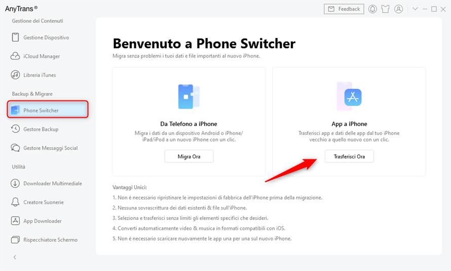 vai su phone switcher e scegli le app per iphone
