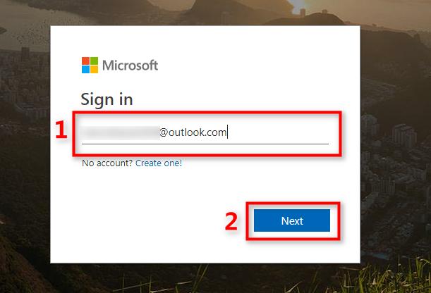 OneDriveのアカウントとパスワードでログインする