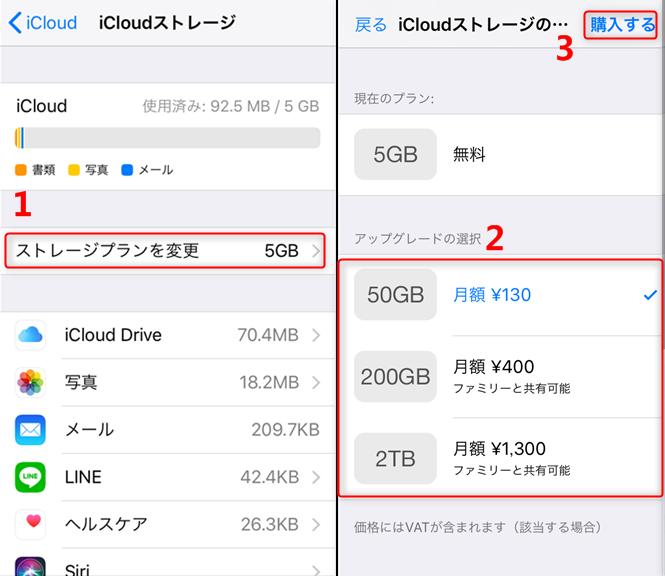 iCloudストレージプランを選択
