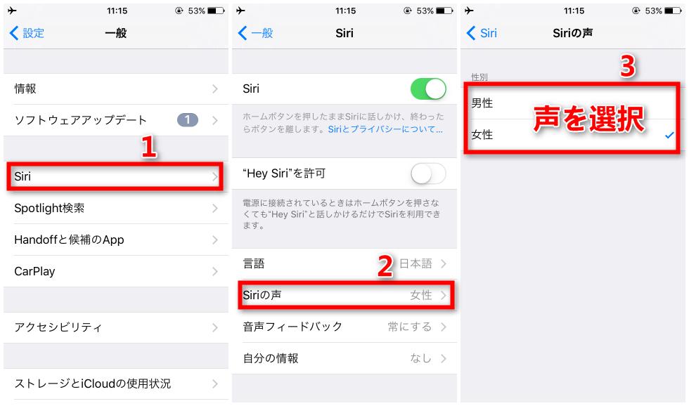 Siriの声を変更する手順
