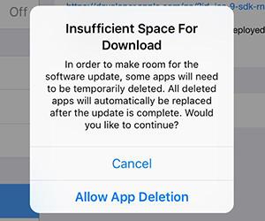 iOS 9不具合 - スペースが足りない