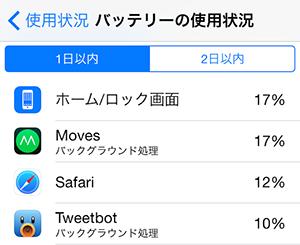 iOS 9不具合 - iOS 9のバッテリー使用時間が短い