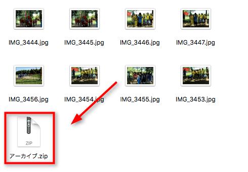 zip形式の圧縮ファイルが作成された