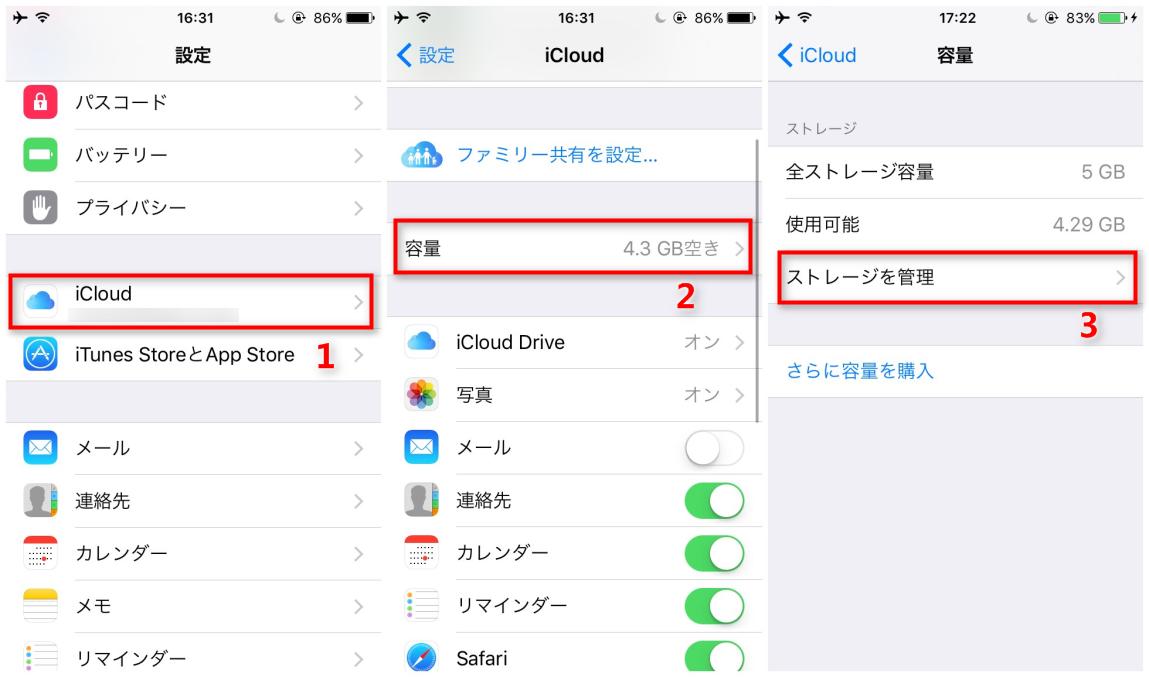 iCloudにバックアップしたデータを削除する ステップ1